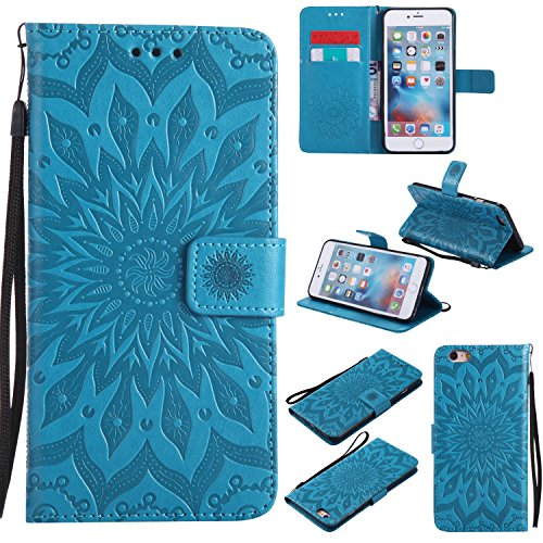iPhone 6S Plus Wallet Case,A-slim(TM) Sun Pattern Embossed PU Leather Magnetic Flip Cover Card Holders & Hand Strap Wallet Purse Case for iPhone 6 Plus / 6S Plus [5.5 Inch] - Blue