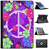 Leather Case For Apple iPad Mini 4 (Will ONLY fit the iPad Mini 4) - Purple Hippy Flower Power Peace Sign