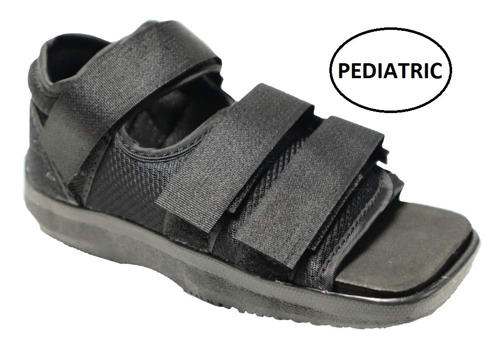 Premium Childrens Post Op Broken Toe/Foot Fracture Square Toe Walking Shoe Cast - Pediatric - Fits Little Kids Sizes 11-1 (Approx 3.5-6 Years Old) (Straps Style May Vary) by MARS WELLNESS