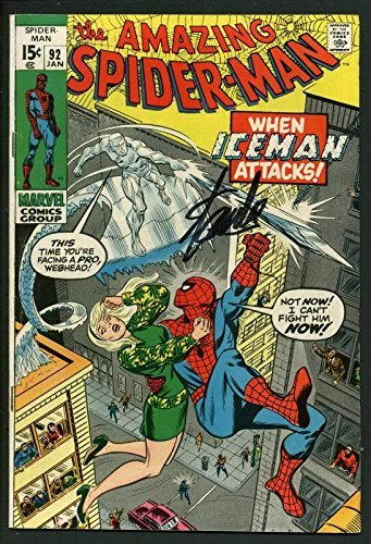 Stan Lee Signed Amazing Spider-Man #92 Comic Bookwhen Iceman Attacks #