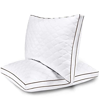 Casaottima Pillow Standard Pillows Set of 2 and Pillows for Sleeping -Soft Flush Fiber Filling, Diamond Patterned Silky Cotton Cover,Neck and Skin Friendly,Anti-Odor,Hypoallergenic-Size 18x26