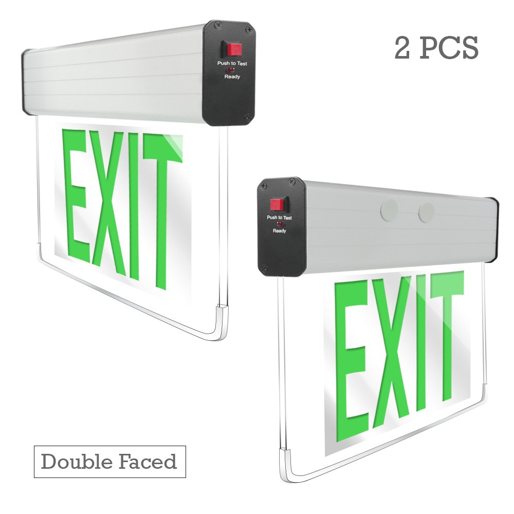 eTopLighting [2 Pack] Edge Lit Exit Sign LED Light Panel, Double Face Green Lettering, Battery Backup, Transparent See Through, Mount on Wall and Ceiling, Rotary Surface Mounting, AGG2131