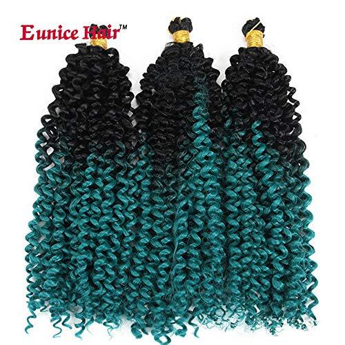 6 Packs 14 Inch Eunice Water Deep Crochet Braids Hair Extension Ombre Green Synthetic Spring Twist Kinky Curly Braiding 30 Strands/Pack (W-8)