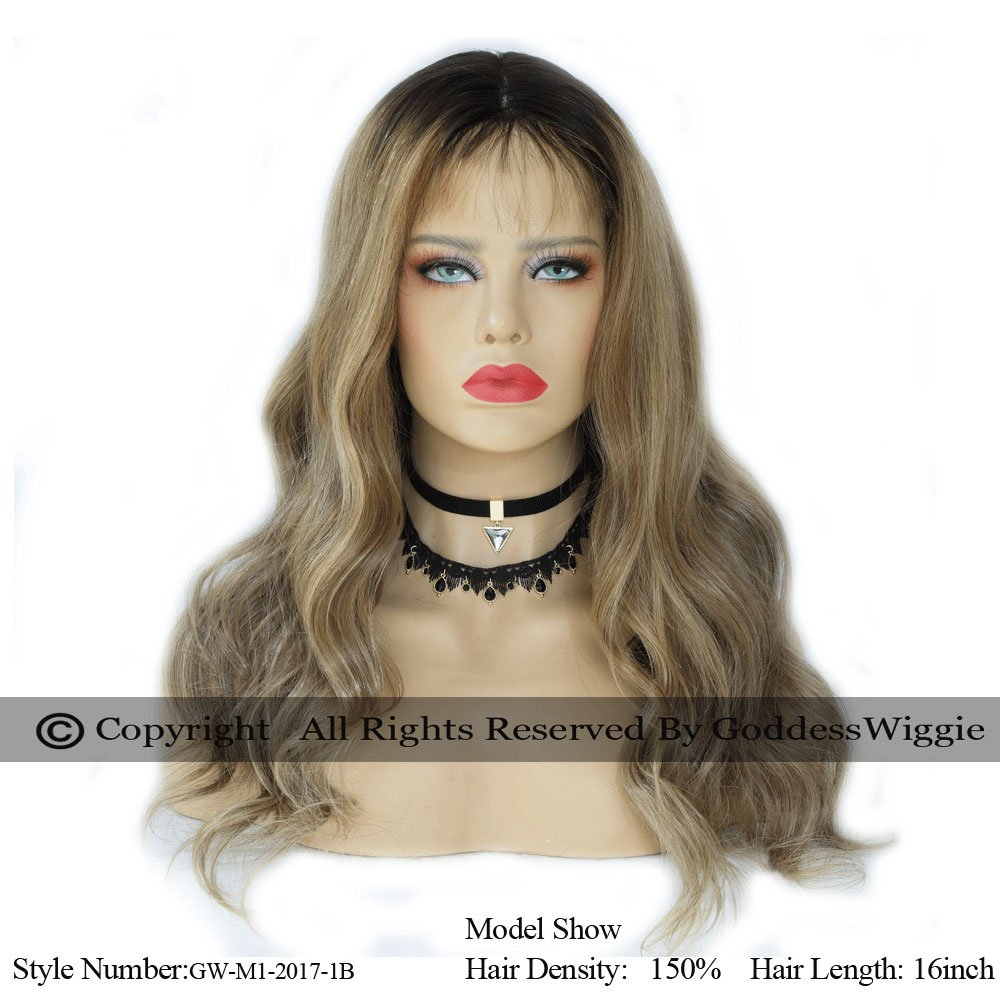 Balayage Human Remy Hair Lace Front Hightlight Wigs With Baby Hair For Woman (20inch 130%)