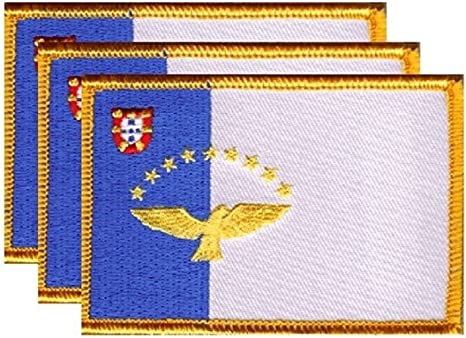 AZORES PORTUGAL FLAG PATCH PATCHES BADGE IRON ON NEW EMBROIDERED