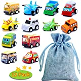 BBLIKE 12pcs Mini Cars Pull back and Go Construction Vehicles Set, Cake Decoration Plastic Model Toy Sets Classic Construction Team, Vehicle Play for 3 Year Old Kids (12 mini toys with Drawstring Bag)