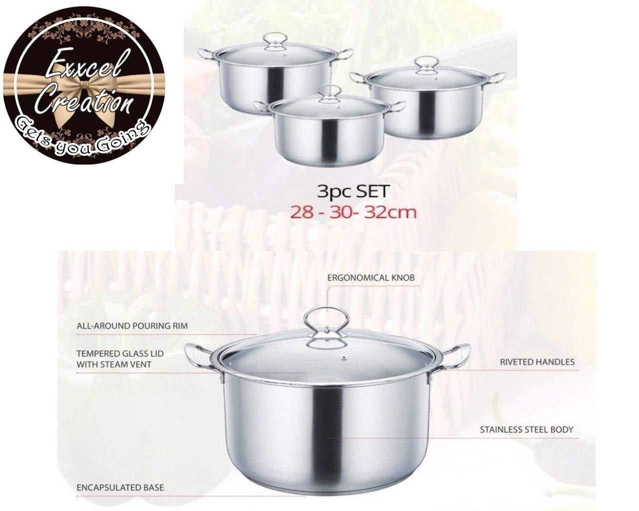 Cacerola metálica de acero inoxidable, 3 piezas, juego de utensilios de cocina plateados, ollas de cocina, sartenes de cocción profunda y tapas de vidrio ...