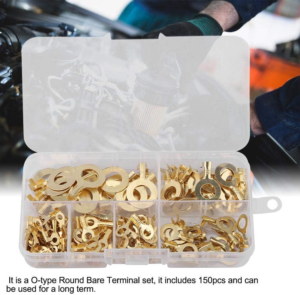 150 Unids Terminal de Crimpado Conector de Cableado de Lat/ón 3.2//4.2//5.2//6.2//8.2//10.2mm O-type Round Bare Cold