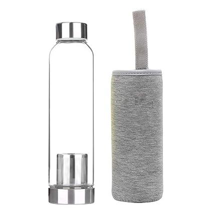 BESTONZON Botella de Cristal de Té con Colador y Bolsa de Transporte Gris 550ml