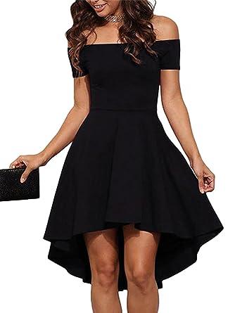 e0cd884bd6 YOINS Women Off Shoulder Short Sleeve High Low Skater Dress Formal Party  Cocktail Black XS