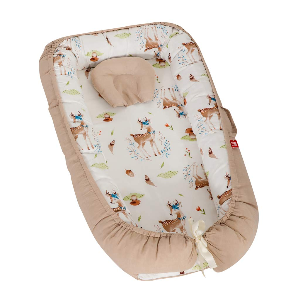 100/% Cotton Portable Crib for Bedroom//Travel Misty Grey Baby Lounger Breathable /& Hypoallergenic Co-Sleeping Baby Bed Abreeze Baby Bassinet for Bed