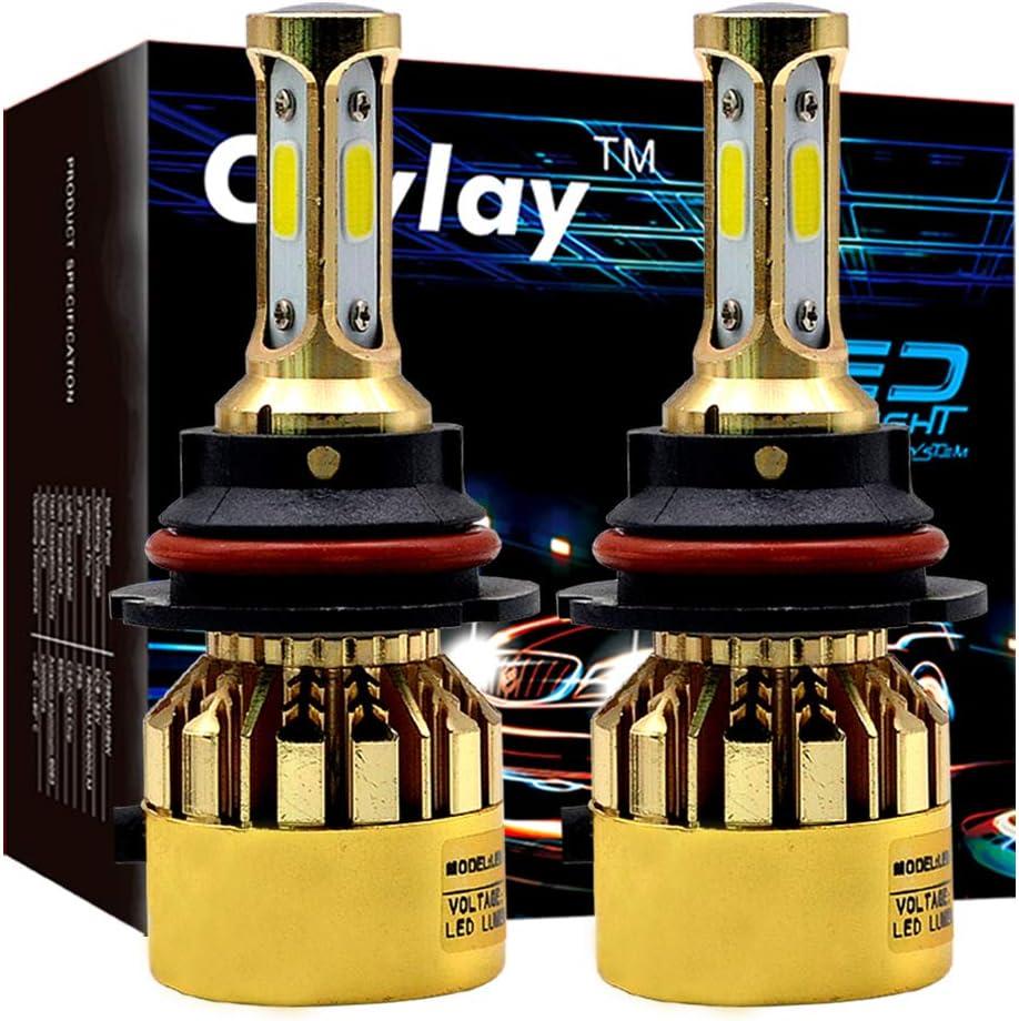Chylay 9007 LED Headlight Bulb For Car Automotive Headlamp S500 72W 8000Lumens 6500K Golden Chrome Aluminum Housng & Turbo Cooling -2 Yr Warranty (Pack of 2)