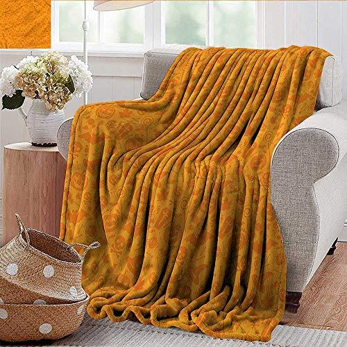 Xaviera Doherty Picnic Blanket Halloween,Halloween Pumpkin Skull Sofa Super Soft, Plush, Fuzzy Microfiber Throw Reversible,Comfy -