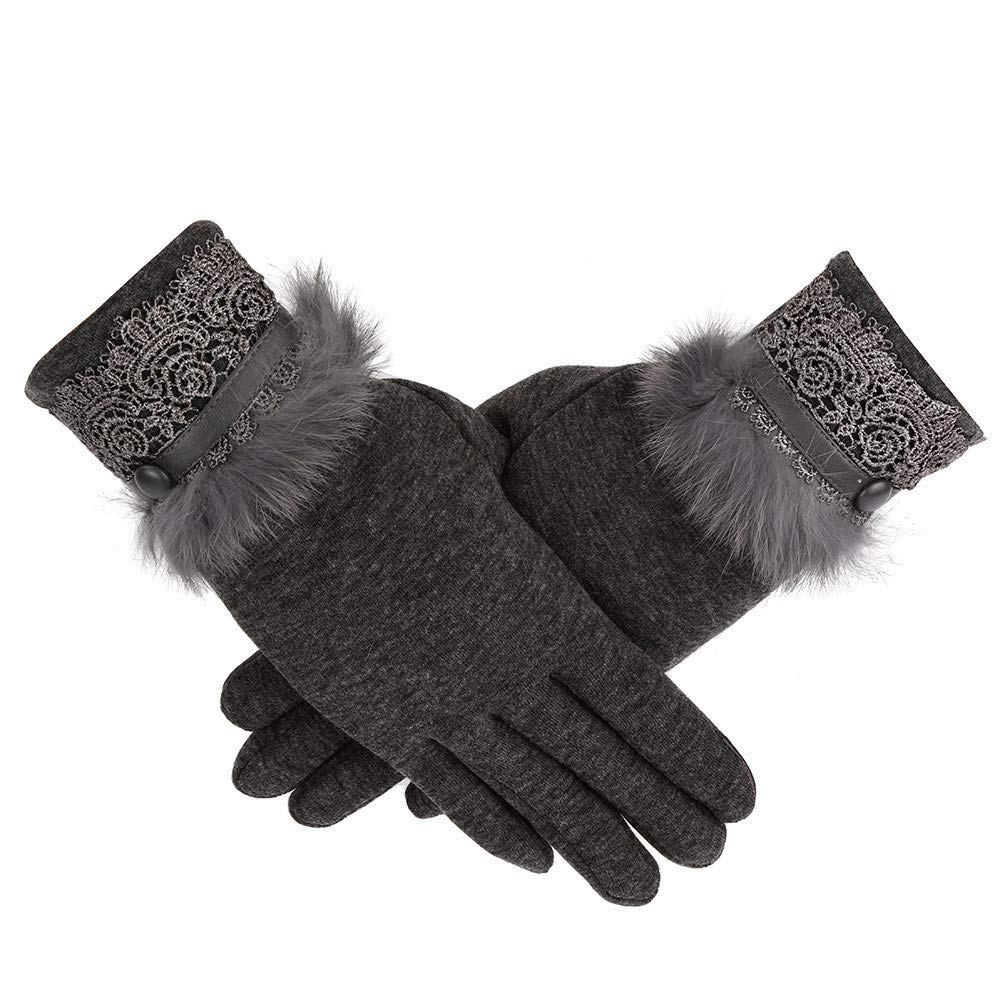 ZTY66✰ Womens Winter Warm Touchscreen Gloves Fleece Lined Cold Weather Thick Gloves (Gray)