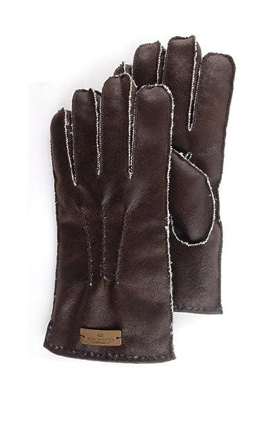 FUR WINTER Pelliccia inverno scamosciato Shearling di pecora da uomo guanti  Vintage Brown Large  Amazon.it  Abbigliamento 2cad7af9399b