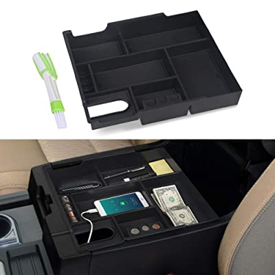 VANJING Center Console Organizer Compatible for 2014 2015 2016 2020 2020 2020 2020 Toyota Tundra Accessories ABS Black Materials Tray Armrest Secondary Storage Box with A Cleaner Brush: Automotive