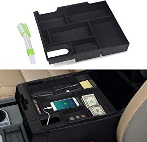 VANJING Center Console Organizer Compatible with 2014 2015 2016 2017 2018 2019 2020 Toyota Tundra Accessories ABS Black Materials Tray Armrest Secondary Storage Box with A Cleaner Brush