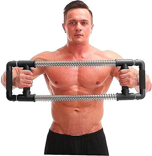 GoFitness Push Down Bar Machine – Chest Expander at Home Workout Equipment – Portable Spring Resistance Exercise Gym Kit for Home, Travel or Outdoors