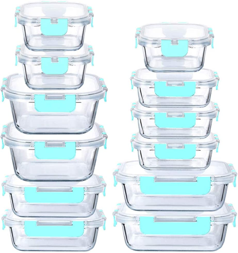 Glass Food Containers Storage Organizers for Kitchen Pantry | BPA Free | Leak Proof | Odor Proof | Stain Resistant | 12 Sets | Freezer and Oven Safe (Blue)