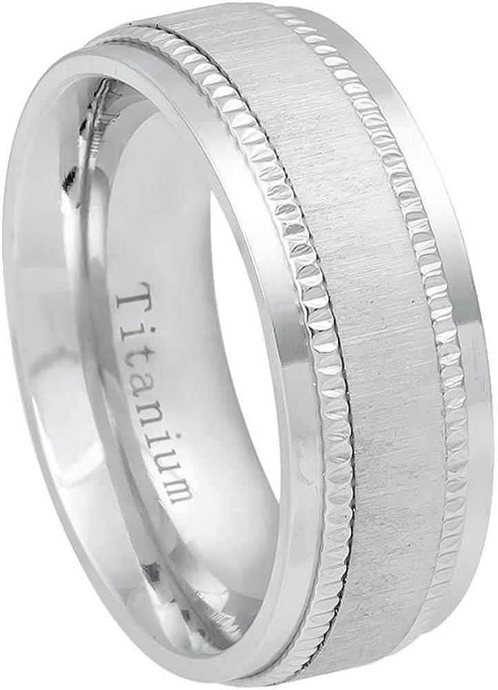 Prime Pristine Titanium Wedding Band Ring 8mm White Satin Finish Center Milgrain Step Edge Ring