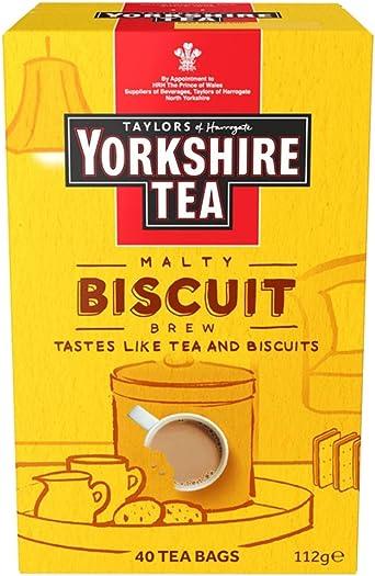 Yorkshire Tea Biscuit Brew Flavoured Tea Bags in yellow packaging