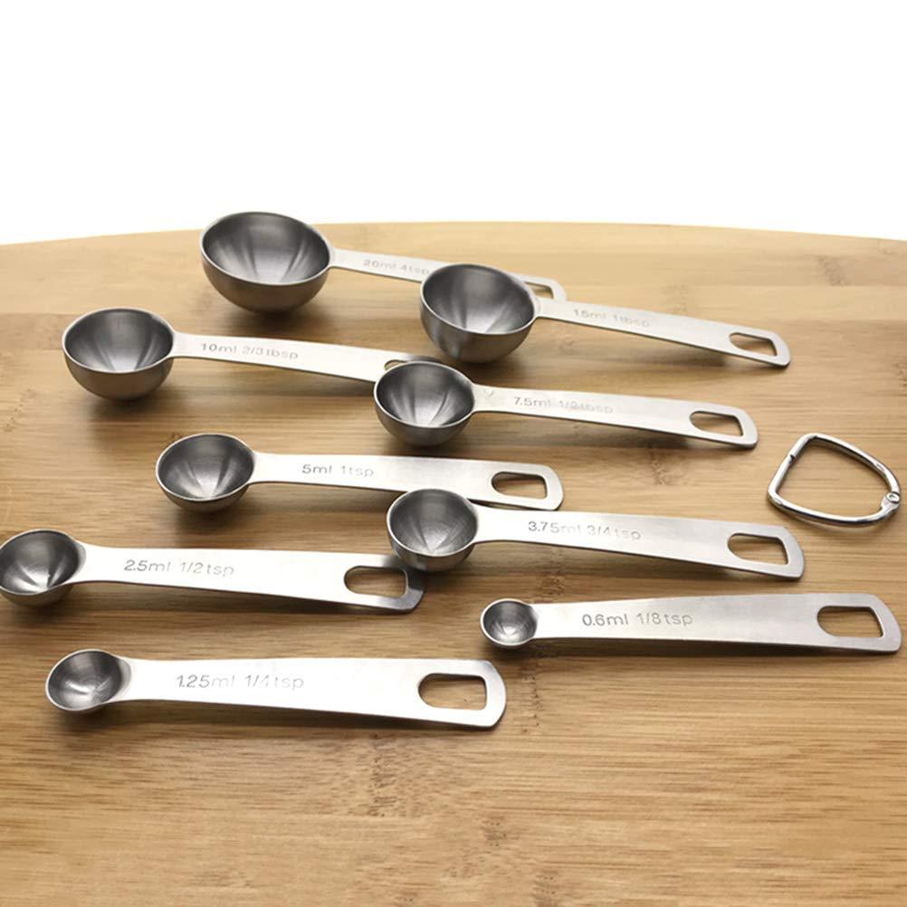 BESTONZON 9 piezas//juego de cucharas de medir de acero inoxidable con herramienta de cocina de cuchara de medida plegable de escala para l/íquidos especias en polvo