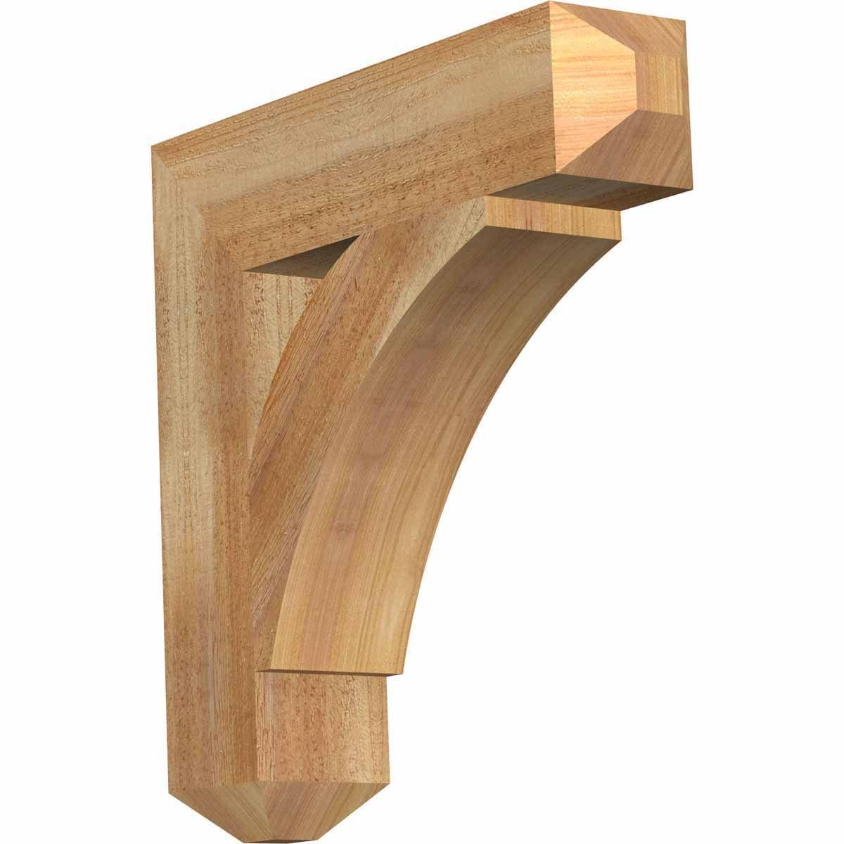 Ekena Millwork BKT04X18X18THR04RWR Thorton Craftsman Rough Sawn Bracket, 4'' Width x 18'' Depth x 18'' Height, Western Red Cedar