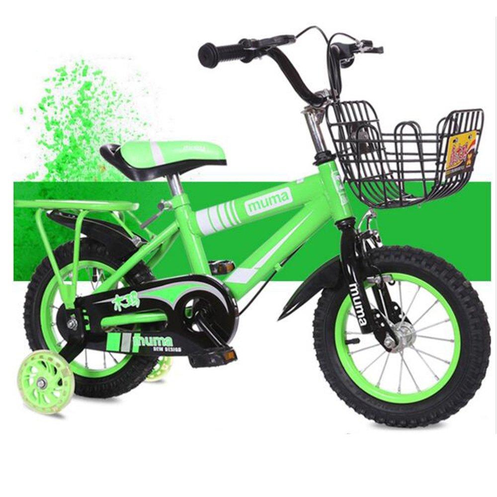 Brisk-子供時代 子供用の自転車、トレーニングホイール付きユニセックス子供用自転車、様々なトレンディな機能、12,14,16および18インチ、おしゃれな男の子と女の子のための贈り物 -アウトドアスポーツ (色 : 緑, サイズ さいず : 12 inch) B07DZ3Q1YJ 12 inch|緑 緑 12 inch
