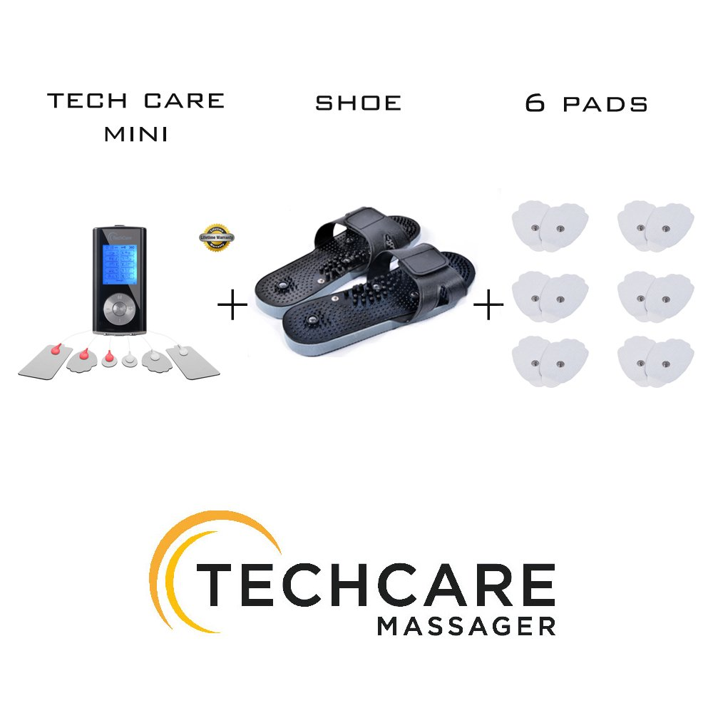 TechCare Mini Tens Massager Unit Electric Massager Set With 6 Extra Pads + Massager Shoes