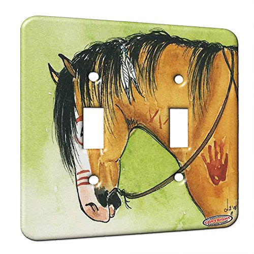 Double Gang Switch Wall Plate - Buckskin Indian War Pony Horse Art by Denise Every