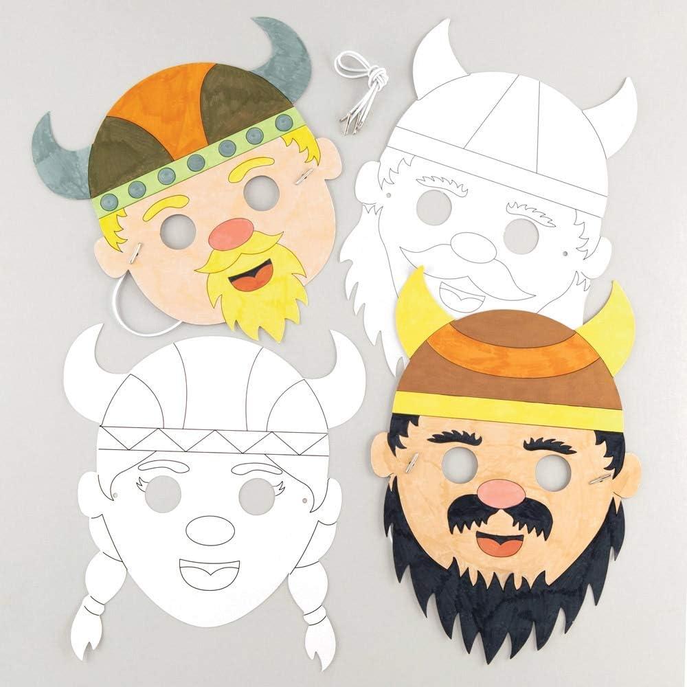 Baker Ross- Kits de caretas de vikingo para colorear (Pack de 8) - Manualidades infantiles de caretas variadas de vikingo para llevar en fiestas o disfrazarse: Amazon.es: Juguetes y juegos