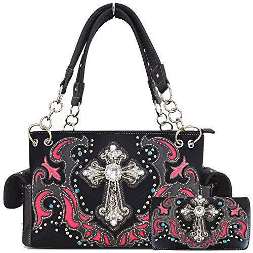 (Western Style Rhinestone Cross Stud Concealed Carry Purse Laser Cut Handbag Women Shoulder Bag Wallet Set (Black/Fuchsia Set))