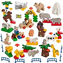 Smart Builder Toys A 62 Piece Animal Set Wild Farm Ocean Desert & Accessories Duplo Compatible