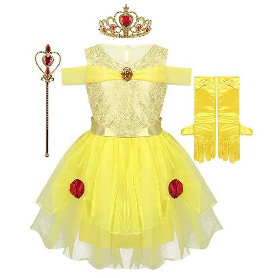 Inhzoy Disfraz De Bella Princesa Para Niña Cosplay 4pcs