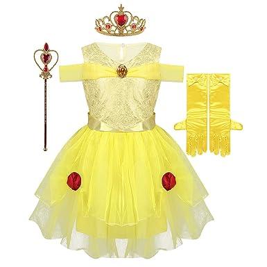inhzoy Disfraz de Bella Princesa para Niña Cosplay 4Pcs Vestido ...