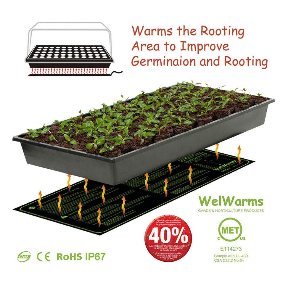 20x10 Seedling Heat Mat Plant Seed Germination Propagation Clone Starter Pad Heated Mat UL-Listed Waterproof Reusable Seedling Starter lkoezi Propagation Kits 20x10, Black
