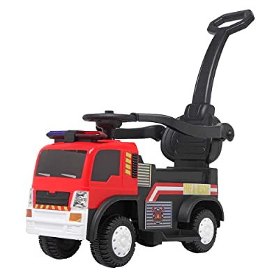 VALUE BOX 3 in 1 Kids Push Car Fire Truck Ride On Car, Toys Car w/ Easy Button, Music, LED Lights and Horns: Toys & Games [5Bkhe0300031]