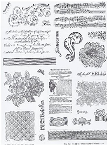 """Hot Off The Press 1198 Acrylic Stamps, 6"""" x 8"""", Fancy Patterns, Clear"""