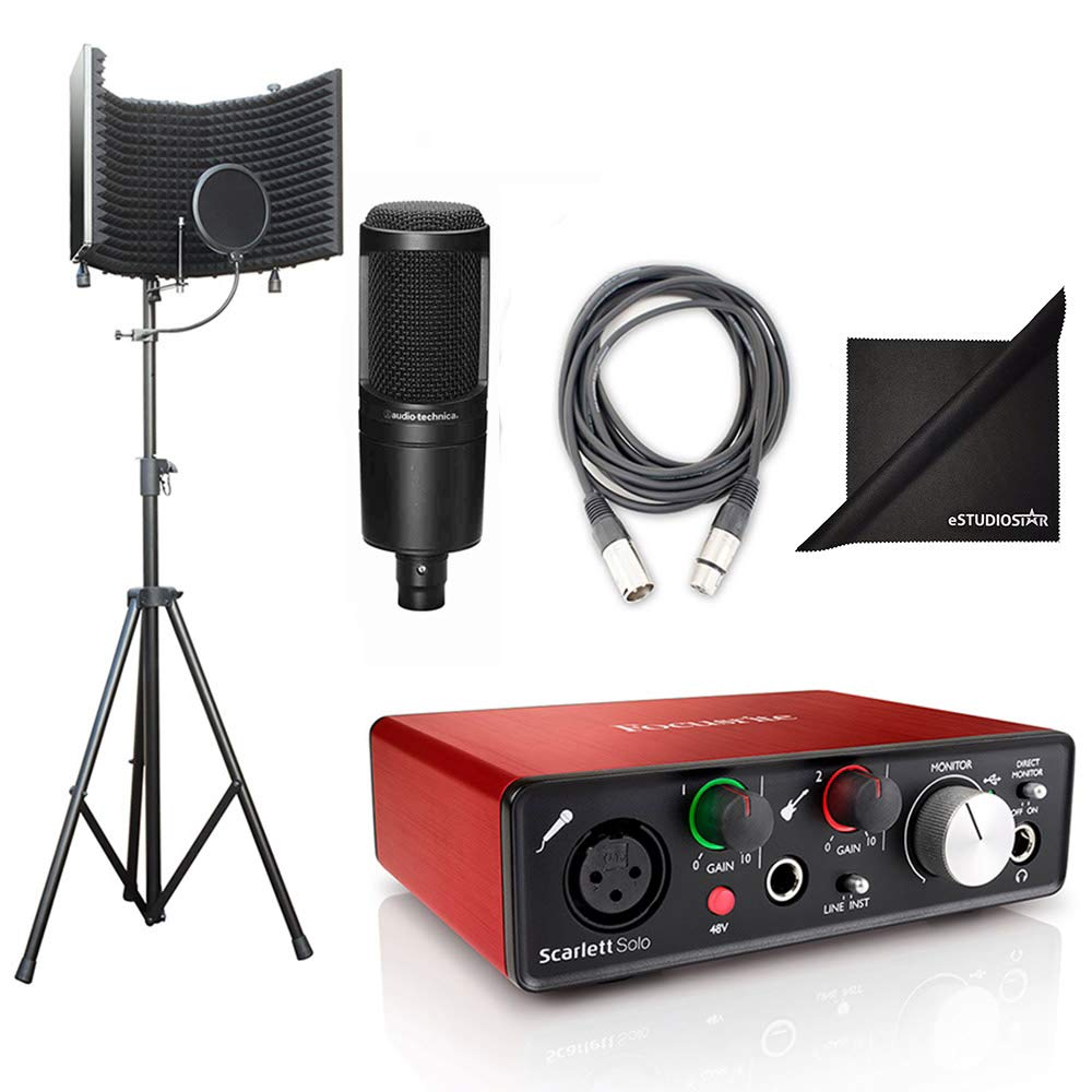 AxcessAbles SF-101Kit Studio Recording w/Audio Technica Condenser Microphone, Podcast Kit, Focusrite Scarlett Solo interface, Free Protools First and Ableton Live Software, Cables and Polishing Cloth