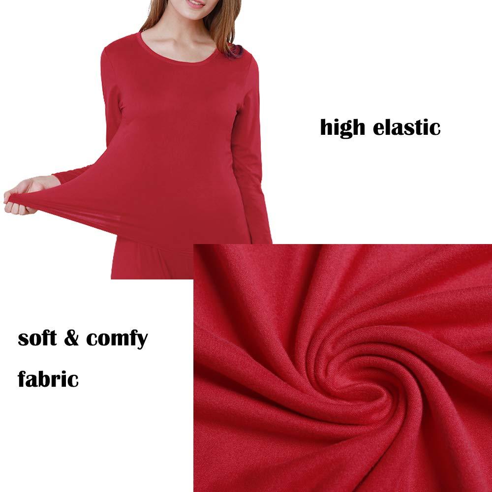 Cuello Redondo Manga Larga Capa Base Superior e Inferior Conjunto de Ropa Interior t/érmica para Mujer iWoo