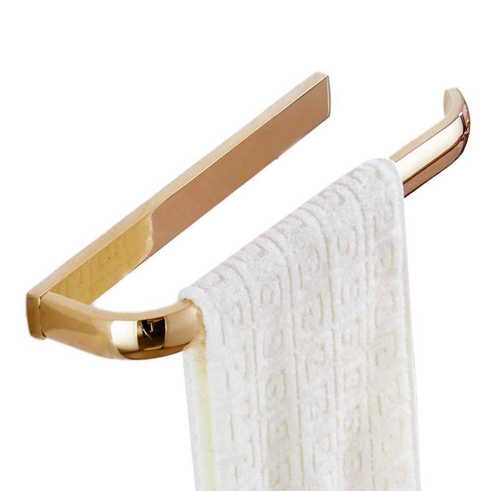 ROSE CREATE Gold Brass Towel Holder, Wall Mounted Towel Rack Bar Hanger, Bathroom Kitchen Rustproof Golden Towel Rail - Gold