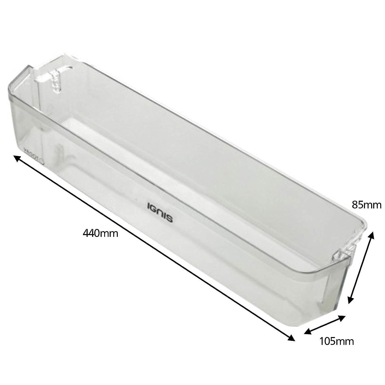 SPARES2GO Lower Door Bottle Shelf for Ignis Fridge Freezer Width 440mm