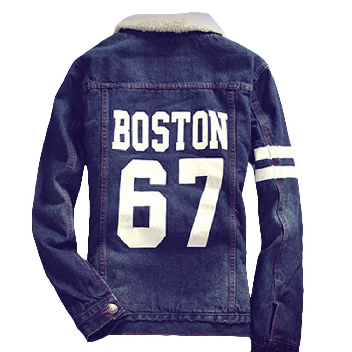 YUNY Mens Cotton Plus Velvet Slim Fit Thicken Denim Parka Jacket 6 3XL