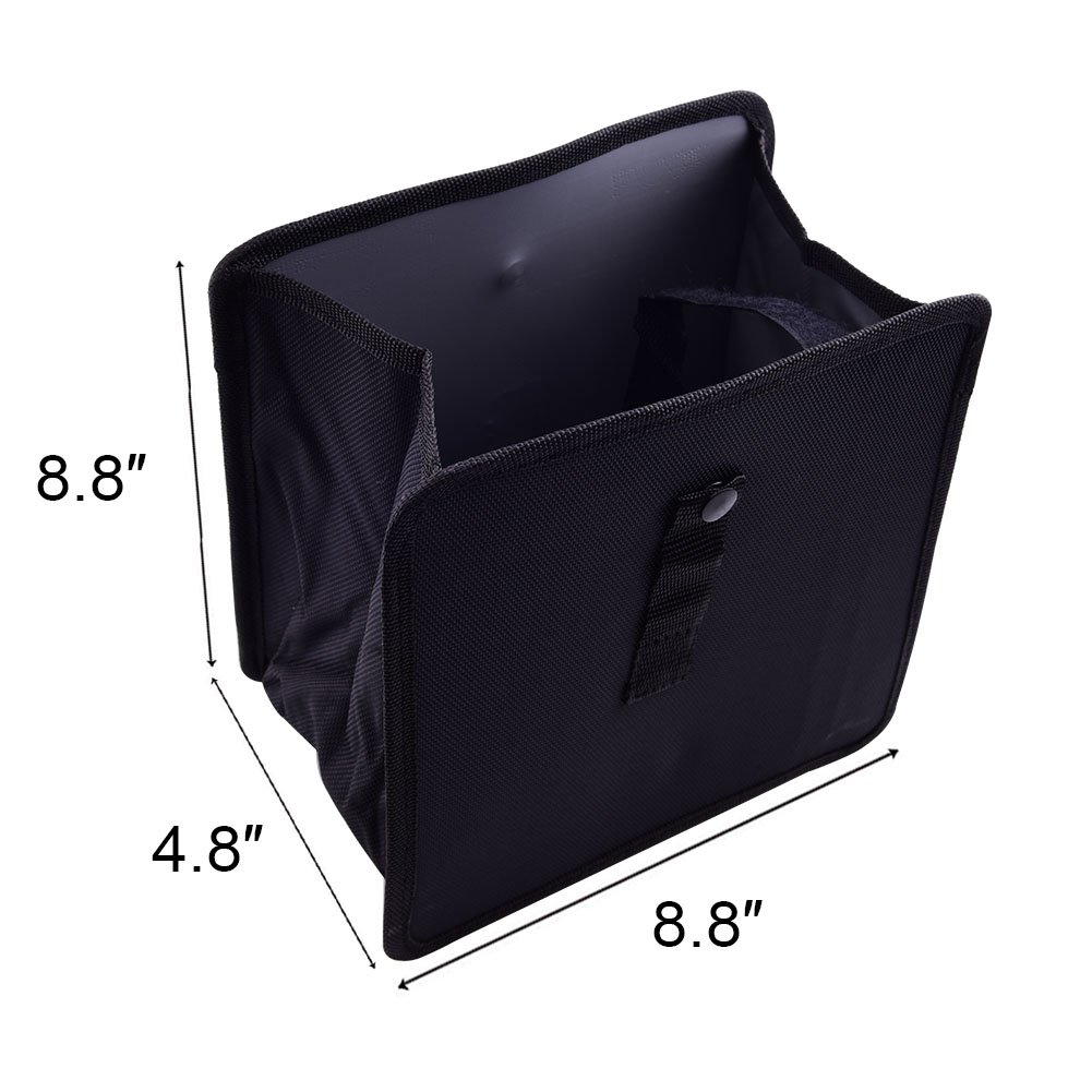 Auto Car Trash Can - Garbage Bag for Litter Classic Black Premium Quality Black Universal Traveling Portable Car Trash Can