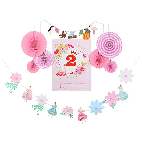 Amazon BESTOYARD Happy Birthday Paper Fans Bunting Banners