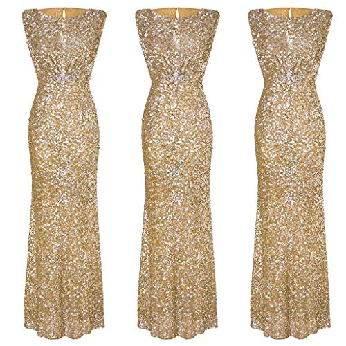 Baiggooswt Women's Sparkling Sequins Prom Party Dress Sexy Backless Sleeveless Full Length Evening Dress O Neck/Double