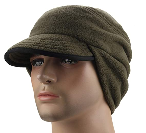C-Stylish Mens Winter Fleece Earflap Cap With Visor Army Green 24e75306496