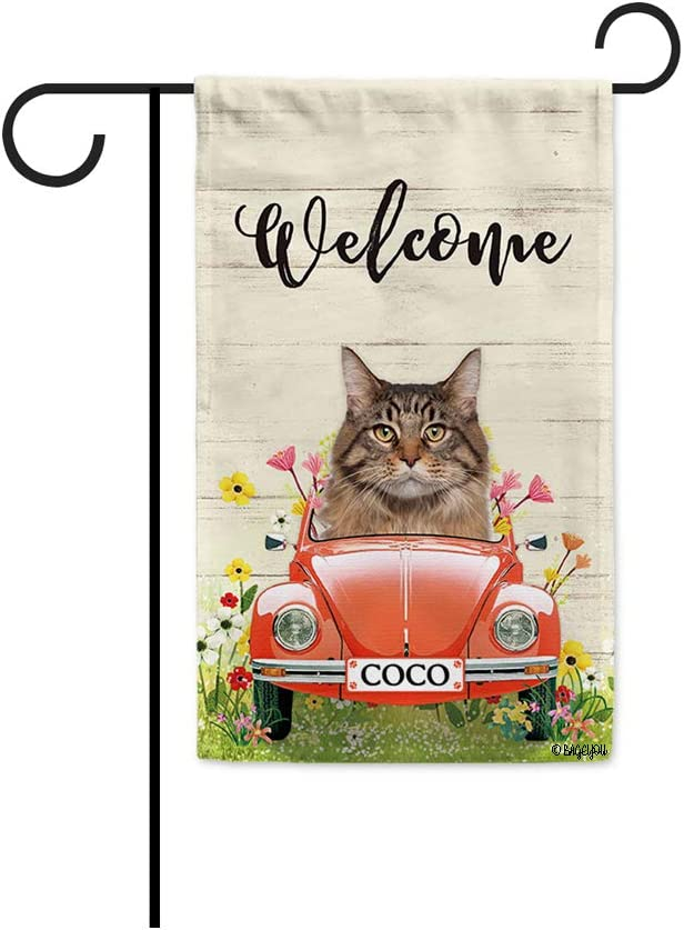 BAGEYOU Custom Name Welcome Spring Dog Garden Flag Maine Coon Driving a Vintage Car Summer Flowers and Lawn Decor Home Banner for Outside 12.5x18 Inch Print Both Sides