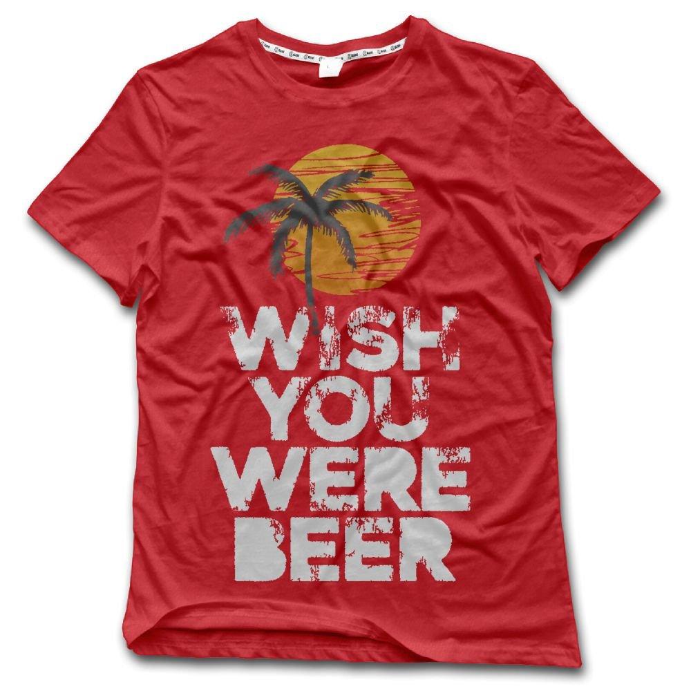 YUYU Mens Wish You were Beer Unisex Tank Top Humor Running Red Tee Short Sleeve