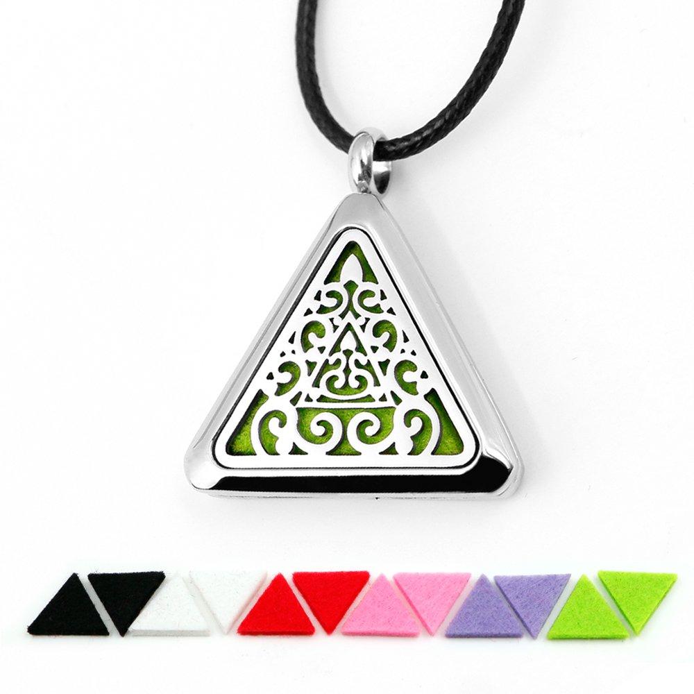 Essential Oil Diffuser Necklace Aromatherapy Jewelry Stainless Steel Locket(Silver) TT-star TTstar-NKCF